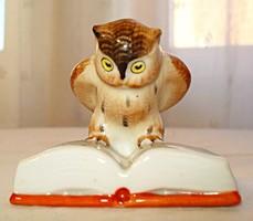 Kispesti, kézzel festett porcelán bagoly