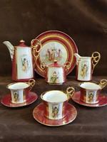 Gyönyörű cseh Altwien teás készlet mitológiai jelenettel I. Herz(?) jelzéssel