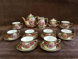 Gyönyörű 6+2 személyes cseh Altwien Angelica Kauffmann teás készlet