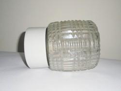 Retro fali mennyezeti lámpa - ritka típusú rücskös üveg búra - Csehszlovák gyártmány