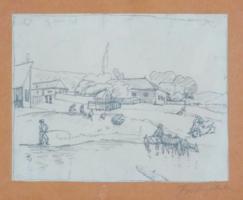 Pór Bertalan: Falusi jelenet, 1910 körül