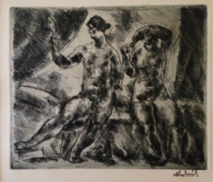 Aba-Novák Vilmos: Fésülködők, 1922 rézkarc