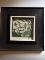 Gallé Tibor: Udvarlás, színes expresszionista linóleummetszet, 1923 k.