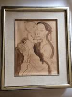 Medveczky Jenő: Anya gyermekével, 1930-as évek, grafika, lavírozott tus