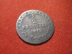 1/2  krajcáros  1822-ből