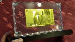 EXKLUZÍV 10 EURO AJÁNDÉK, RITKA ARANY BANKJEGY, UNC BANKJEGYVERET, LUXUS  ASZTAL VITRIN DÍSZ