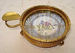 Tűzi-aranyozott antik hamuzó, hamutál üveg betéttel