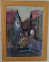 NAGYMÉRETŰ,KVALITÁSOS, FELTEHETŐEN BALOGH MARGIT FESTMÉNY:SOPRON 44,5 cm X 58,5 cm, akvarell, papír