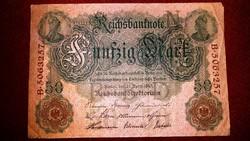 5 db RITKA SZÉP NÉMET 50 MÁRKA 1910-es ANTIK BANKJEGY GYŰJTEMÉNYBŐL
