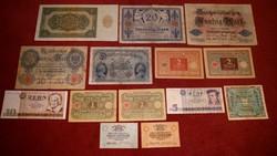 14 db RITKA  NÉMET MÁRKA ANTIK BANKJEGY GYŰJTEMÉNYBŐL, 1914, 1915, 1948, 1975, stb. NDK BANKJEGY IS