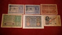 6 db KÜLÖNBÖZŐ 1917-1922 RITKA NÉMET MÁRKA ANTIK BANKJEGY GYŰJTEMÉNYBŐL, 5-20-50-100-1000 MÁRKA