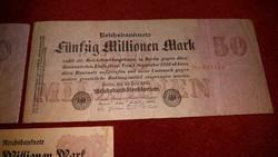KÜLÖNBÖZŐ 3 db RITKA NÉMET MILLIÓ MÁRKA 1923-mas ANTIK BANKJEGY GYŰJTEMÉNYBŐL: 2-5-és 20 MILLIÓ DM