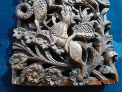 Antik Keleti tábla mitikus lényekkel szövevényes virág mintákkal-19,3x14x2,5 cm