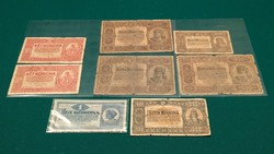 8 db KÜLÖNBÖZŐ  1920-1923 ÉVEK RITKA MAGYAR ANTIK 1000,100, 2, 1 KORONA BANKJEGY