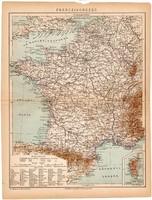 Franciaország térkép 1892, eredeti, antik, régi, Athenaeum, Brockhaus, magyar nyelvű