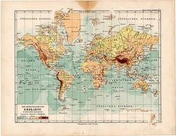 Világtérkép Mercator projekciójában, térkép 1892, eredeti, régi, Meyers atlasz, német nyelvű