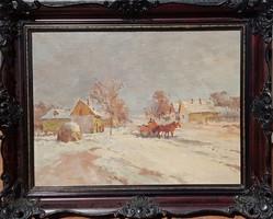 Csallóközi Farkas Lőrinc / Téli falu lovasszekérrel