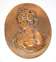 Szecessziós stílusú, bronzírozott fém fali plakett