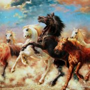 Huge 120 cm impressive painting picture, horses, horse-drawn, spectacular gifts, landscape