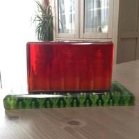 Régi orosz faragott plexiüveg asztali dísz