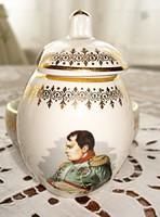 Francia porcelán só-, bors- és mustártartó