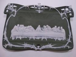 Porcelán falikép: Az utolsó vacsora részletgazdag porcelán kivitelben