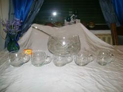 Bólés készlet, metszett-csiszolt üveg különböző gyümölcs mintákkal