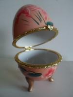 Porcelán tojás ékszertartó nagy 13cm