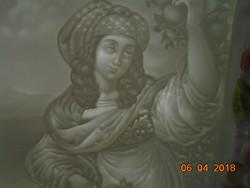 19 sz német Litofán dombor porcelán kép egy reneszánsz Madonna festmény után P.P.M.402 jelzéssel