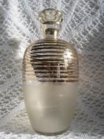 Régi arany csíkos likőrös palack eredeti dugóval  20 cm