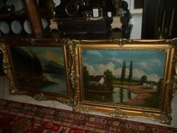 Bakos L. 2 db nagy antik olaj festménye két teljesen egyforma, hibátlan, gyönyörű blondel keretben