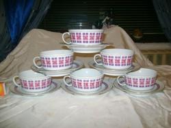 Retro Alföldi porcelán teás készlet - hat személyes