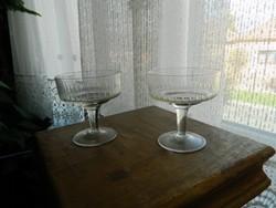 Kézzel csiszolt antik talpas likőrös pohár pár