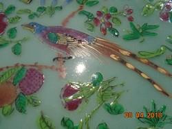 19sz Celadon irizáló zománc madár,gyümölcs.rovar,virág Famille Rose Daoguang(1782-1820) tányér-19 cm