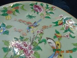 Famille Rose Daoguang(1782-1820) celadon irizáló zománc madár rovar minta tányér-18 cm