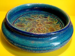 Bitossi - Aldo Londi design Rimini Blue kerámia tál asztalközép kínáló