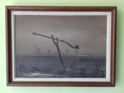 Szántó Lukács - Gémeskút olaj / farost festmény
