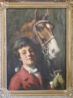 Pécsi Pilch Dezső : Fiú lóval c.festmény