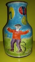 Mid Century De Simone kerámia váza jelzett