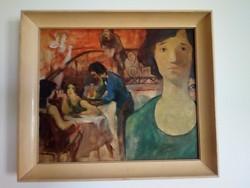 Kávéházi jelenet olaj festmény