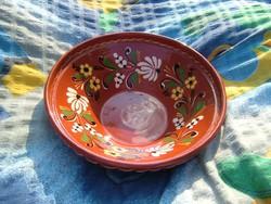 Nagy mély - szignózott  - kézműves kerámia fali tányér - FALITÁNYÉR