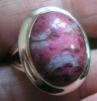 925 ezüst gyűrű, 18,5/58 mm, thulittal