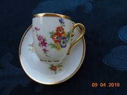 Újszerű antik Rosenthal virágos szignós mokkás csésze-