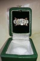 Art Deco 14 k-os arany kisúj gyűrű, 0,9 K Peruzzi csiszolású gyémánttal