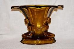 Régi nőalakos váza ritka dohány színben