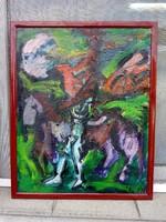 Baráth Pál festmény , címe : Éjszakai lovas