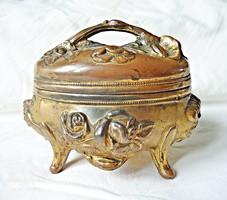 Szecessziós aranyozott ékszertartó doboz