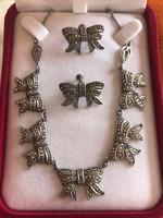 Antik ezüst szecessiós kolié nyakék fülbevalóval