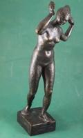 Gyenes Tamás : Fésülködő meztelen nő akt  szobor - kisplasztika