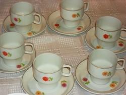 Hollóházi tavaszi virágos kávés csésze 6 darab
